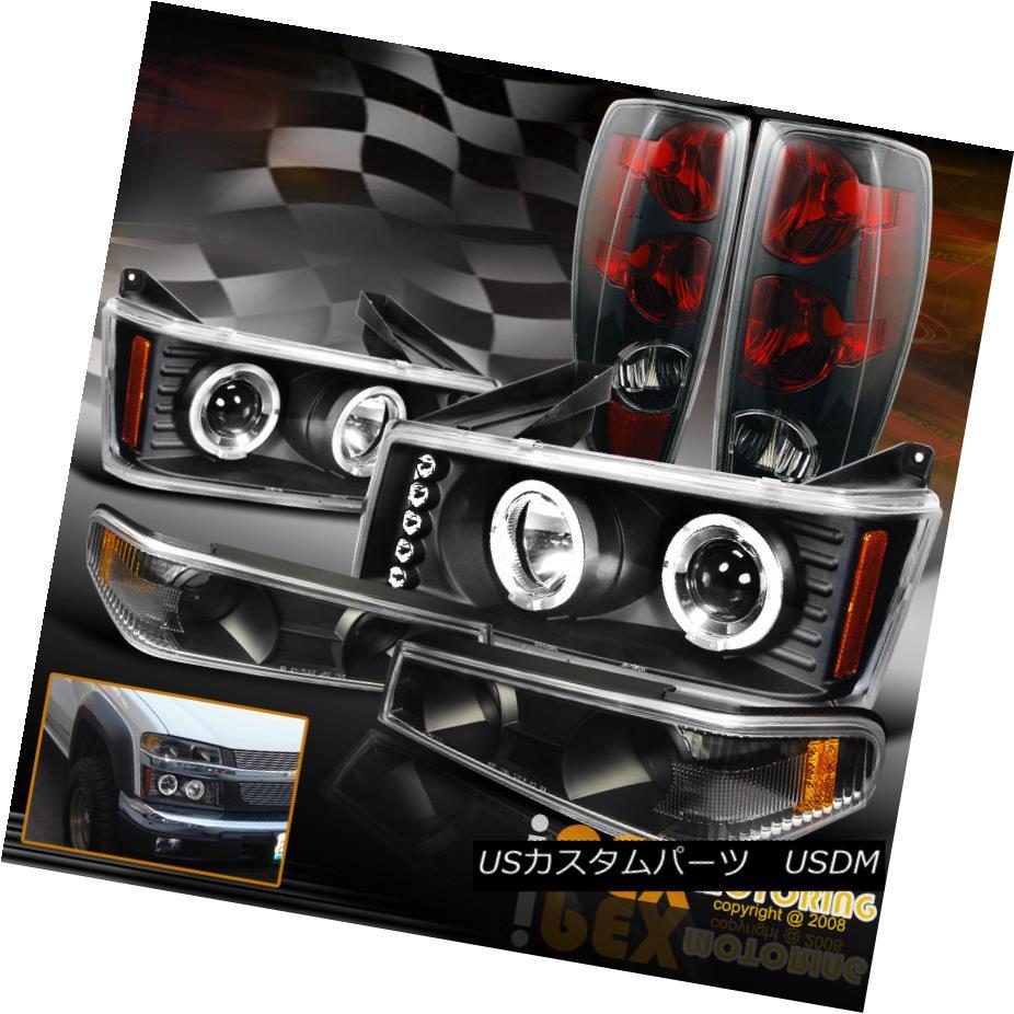 テールライト 2004-2012 Chevy Colorado Halo Projector LED Headlights+Signals+Black Tail Light 2004年?2012年シボレー・コロラド・ハロー・プロジェクターLEDヘッドライト+シグリング nals +ブラックテールライト