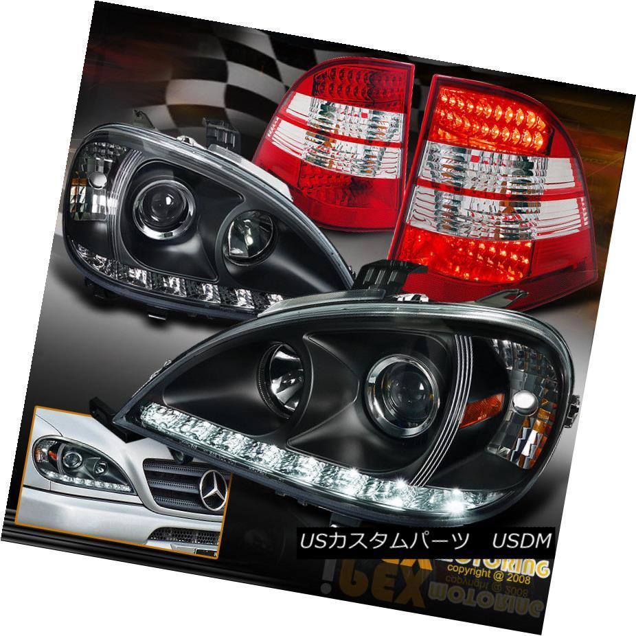 テールライト 98-01 Mercedes Benz ML W163 Projector Black LED DRL Headlights + LED Tail Lights 98-01メルセデスベンツML W163プロジェクターブラックLED DRLヘッドライト+ LEDテールライト