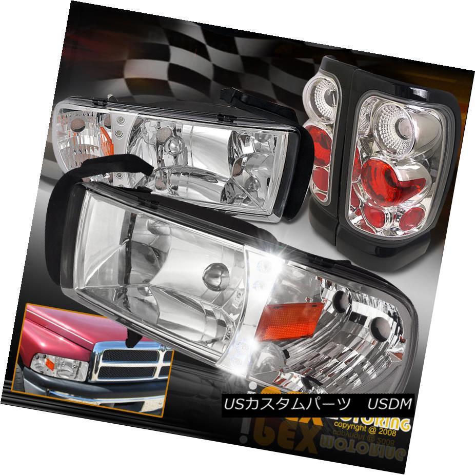 テールライト 1994-2001 Dodge Ram 1500/2500/3500 Chrome LED Headlights + Euro Tail Light 4PC 1994-2001 Dodge Ram 1500/2500/3500クロームLEDヘッドライト+ユーロテールライト4PC