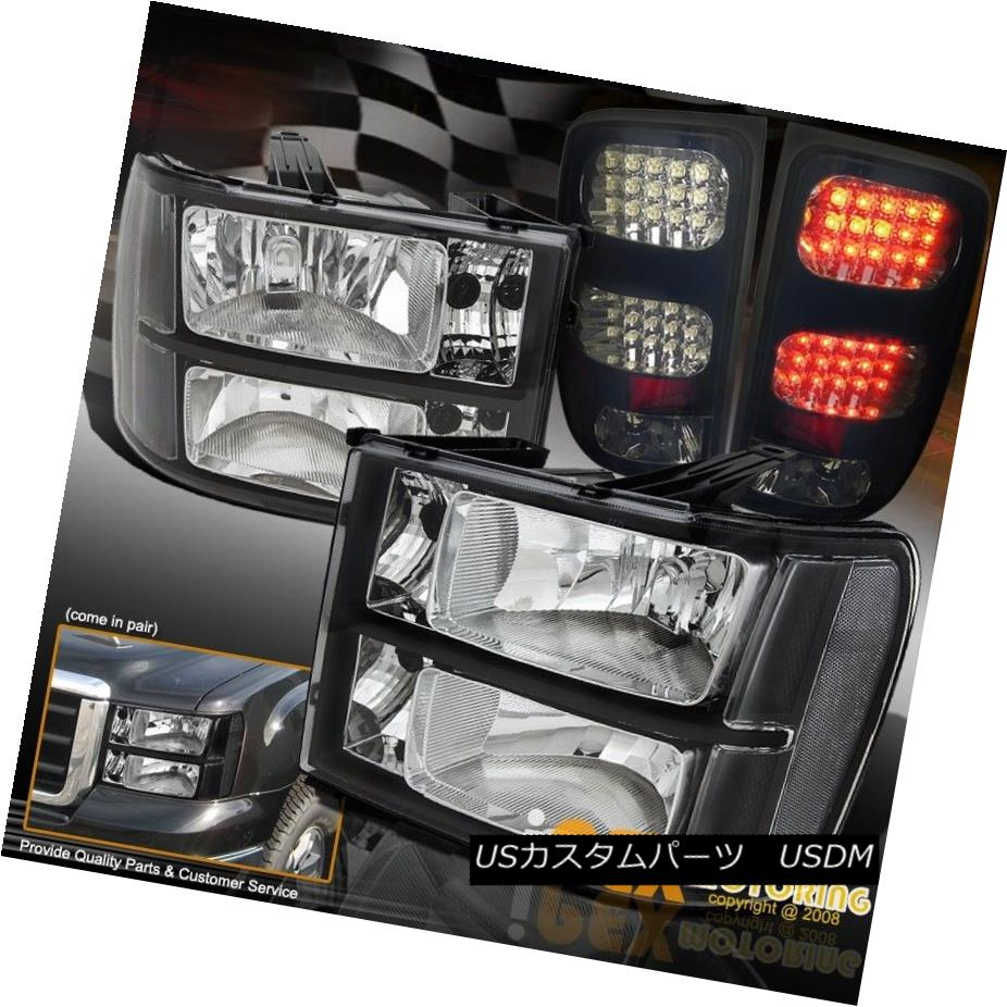 テールライト 2007-2013 GMC Sierra 1500 2500 3500 Black Headlights + Dark Smoke LED Tail Light 2007-2013 GMC Sierra 1500 2500 3500ブラックヘッドライト+ダークスモークLEDテールライト