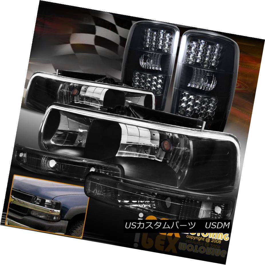 テールライト 2000-2006 Chevy Tahoe Black Headlights W/ Signals + Dark Smoke LED Tail Lights 2000-2006シボレータホブラックヘッドライトW /シグナル+ダークスモークLEDテールライト