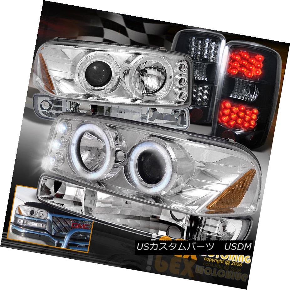 テールライト 00-06 GMC Yukon XL 1500/2500 Halo Projector Headlight+LED Tail Light Dark Smoke 00-06 GMCユーコンXL 1500/2500ハロープロジェクターヘッドライト+ LEDテールライトダークスモーク