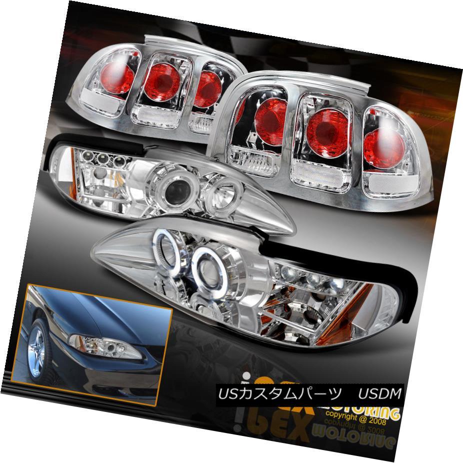 テールライト VALUE COMBO 1996-1998 Ford Mustang Halo LED Projector Head Light + Tail Lamps VALUE COMBO 1996-1998 Ford Mustang Halo LEDプロジェクターヘッドライト+テールランプ