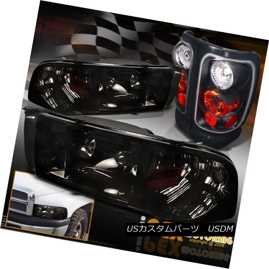 テールライト 94-01 Dodge Ram 1500 2500 3500 Shiny Smoke Headlight w/Signal + Black Tail Light 94-01 Dodge Ram 1500 2500 3500シャイニー・スモーク・ヘッドライト(シグナル+ブラック・テール・ライト)