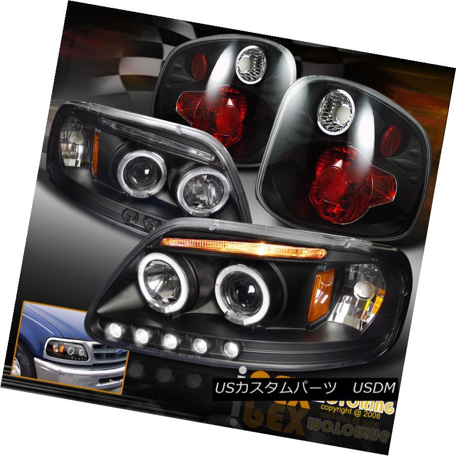 テールライト Ford F150 SVT Supercrew Harley Halo Projector LED Headlights + Black Tail Light Ford F150 SVT Supercrew Harley HaloプロジェクターLEDヘッドライト+ブラックテールライト