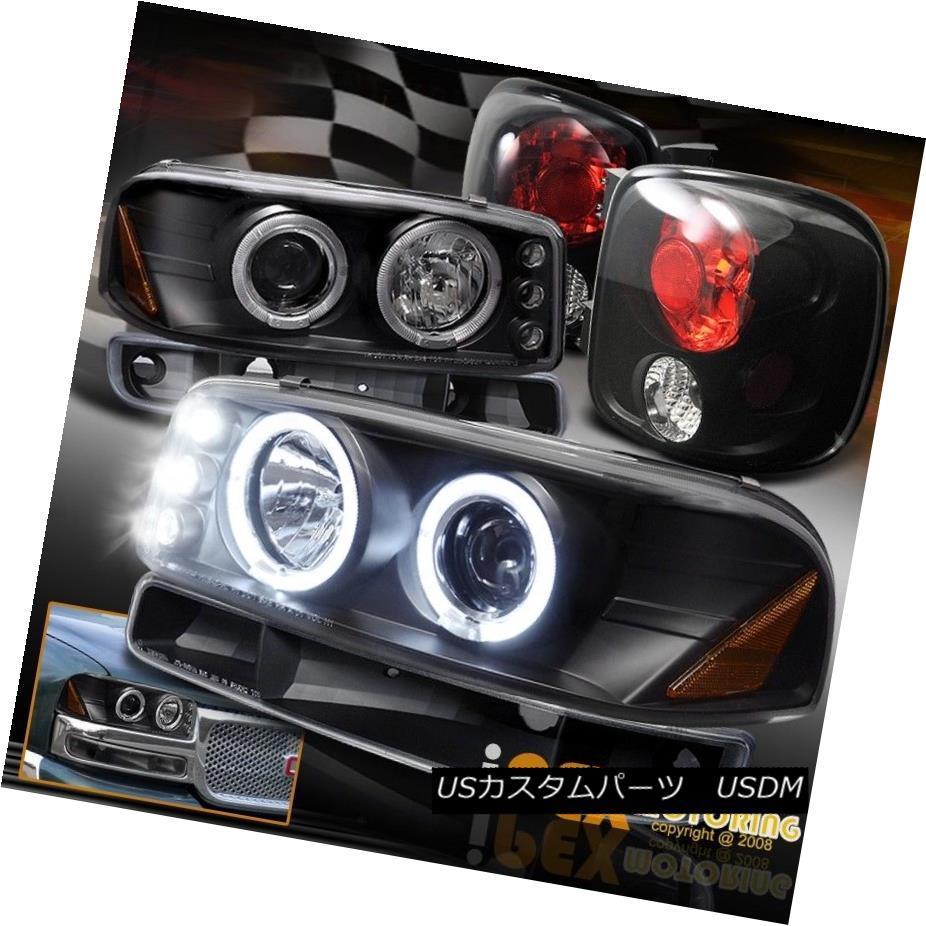 テールライト For 99-04 GMC Sierra StepSide Halo LED Projector Headlights+Signal+Tail Lights 99-04 GMC Sierra StepSide Halo LEDプロジェクターヘッドライト+ Sig nal +テールライト用