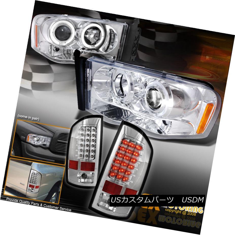 テールライト 02-05 Dodge RAM 1500/2500 Halo Projector Chrome Set Headlights + LED Tail Light 02-05ドッジRAM 1500/2500ハロープロジェクタークロームヘッドライト+ LEDテールライト