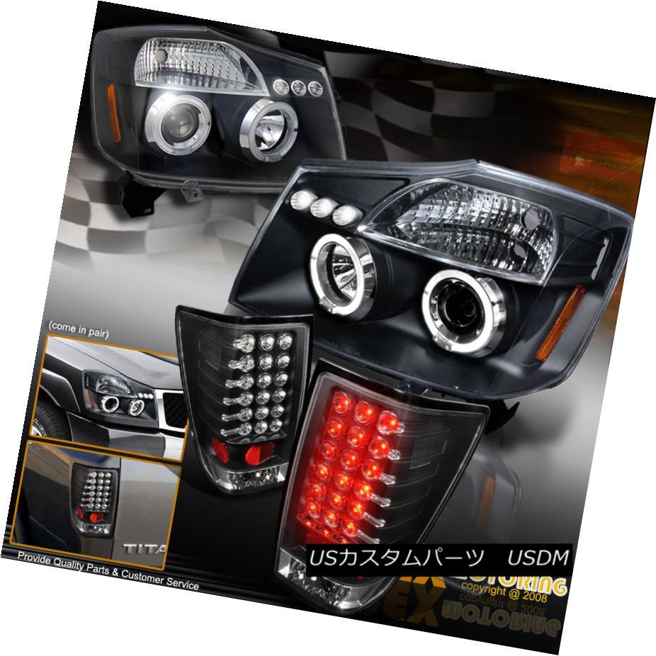 テールライト NEW For 2004-2014 Nissan Titan Halo Projector Headlights + LED Tail Lights Black 2004年?2014年の新型日産タイタンヘイロープロジェクターヘッドライト+ LEDテールライトブラック