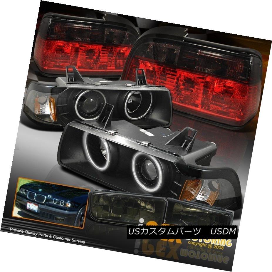 テールライト BMW 92-98 E36 2Dr Halo Projector Black Headlights + Smoke Tail Light + Fog Light BMW 92-98 E36 2Drハロープロジェクターブラックヘッドライト+スモークテールライト+フォグライト