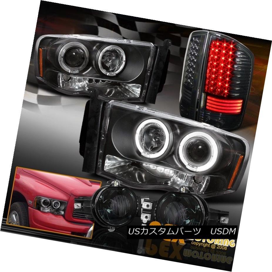 テールライト 02-05 Ram Halo LED Projector Black Head Light W/ LED Smoke Tail Lamps & Fog Kits 02-05ラムハローLEDプロジェクターブラックヘッドライトW / LEDスモークテールランプ& フォグキット