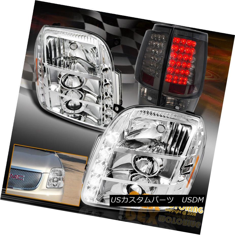 テールライト 2007-2014 GMC Yukon Denali Chrome Projector Headlights + LED Smoke Tail Light 2007-2014 GMCユーコンデナリクロームプロジェクターヘッドライト+ LED煙テールライト