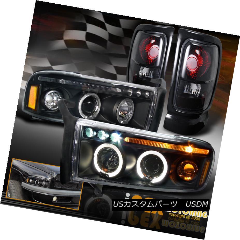テールライト 94-01 Dodge Ram 1500 2500 Halo Projector Black Headlights+Dark Smoke Tail Lights 94-01ダッジラム1500 2500ハロープロジェクターブラックヘッドライト+ダーク kスモークテールライト
