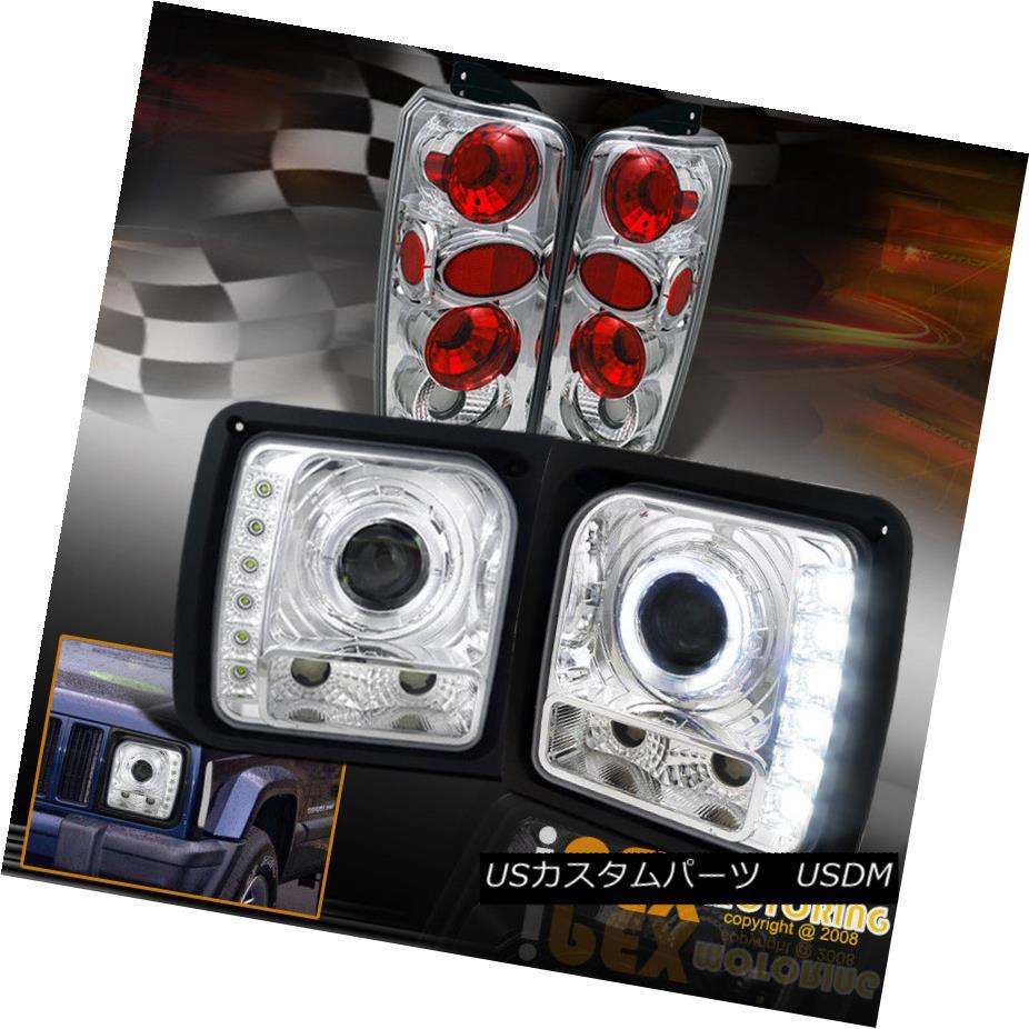 テールライト 1997-2001 Jeep Cherokee Halo Rim W/ Projector LED Chrome Headlights + Tail Light 1997-2001ジープチェロキーハローリムW /プロジェクターLEDクロームヘッドライト+テールライト