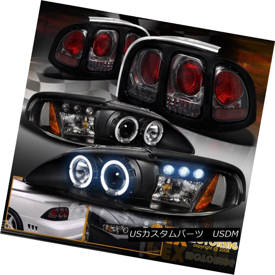 テールライト 1994-1998 Ford Mustang Halo Projector LED Black Headlights + Smoke Tail Lights 1994-1998 Ford Mustang HaloプロジェクターLEDブラックヘッドライト+煙テールライト