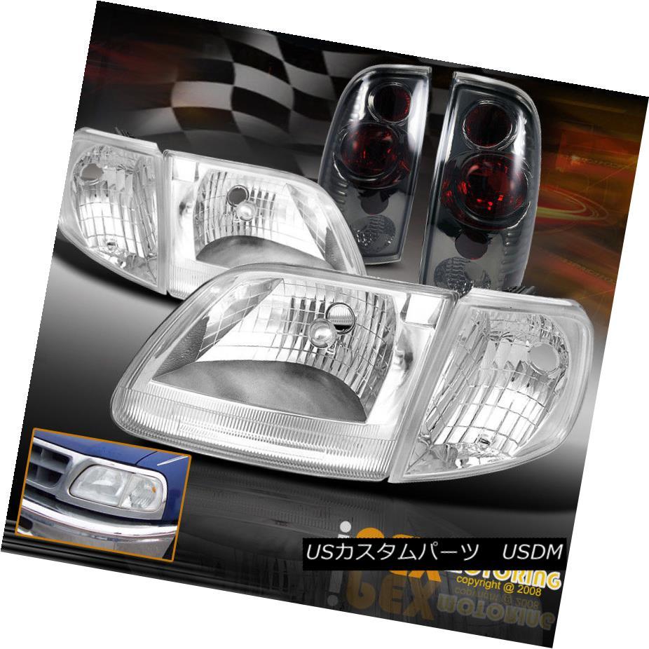 テールライト NEW 1997-2003 Ford F150 Chrome Headlights W/ Corner Signals + Smoke Tail Light NEW 1997-2003フォードF150クロームヘッドライトW /コーナー信号+煙テールライト