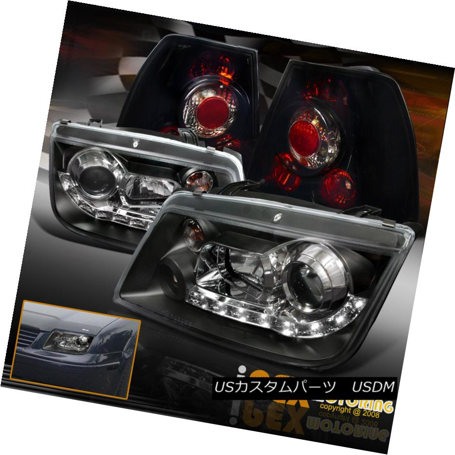 テールライト VW Jetta MK4 Projector Bora Black LED DRL Headlights + Dark Smoke Tail Lights VWジェッタMK4プロジェクターボラブラックLED DRLヘッドライト+ダークスモークテールライト