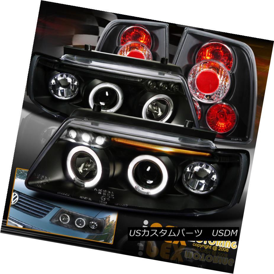 テールライト 1997-2000 VW Passat B5 Dual Halo Projector LED Black Headlights W/ Tail Lights 1997-2000 VWパサートB5デュアル・ハロー・プロジェクターLEDブラックヘッドライトテールライト