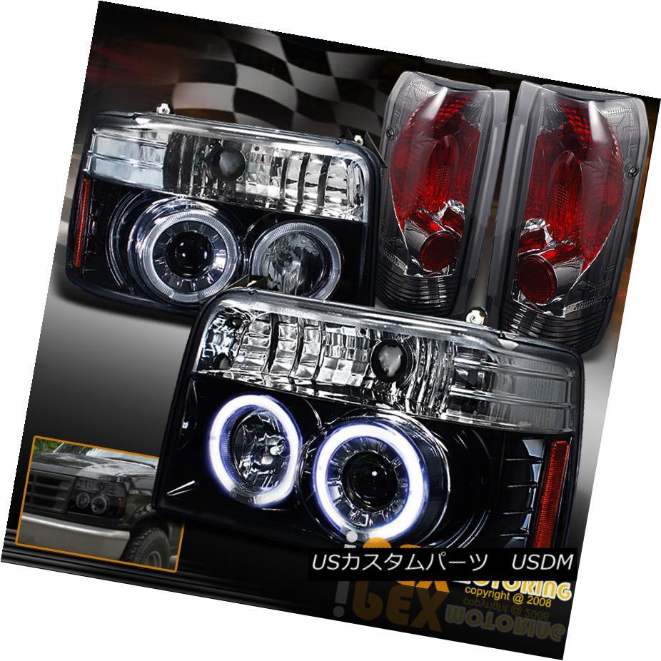 テールライト 1992-1996 Ford F150 Bronce Halo Projector Shiny Black Headlight+Smoke Tail Light 1992-1996フォードF150ブロンズハロープロジェクターシャイニーブラックヘッドライト+スモーク eテールライト