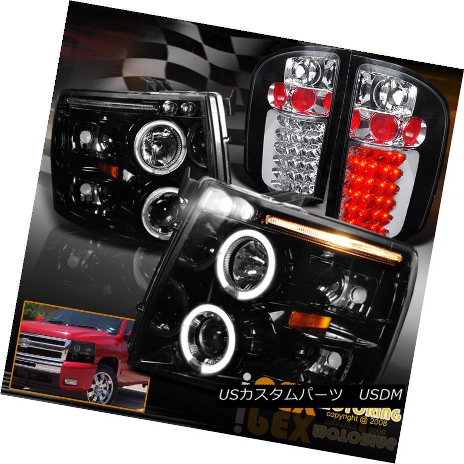 テールライト 007-2014 Chevy Silverado 1500 2500HD 3500HD Halo Headlights + LED Tail Lights 007-2014 Chevy Silverado 1500 2500HD 3500HDハローヘッドライト+ LEDテールライト