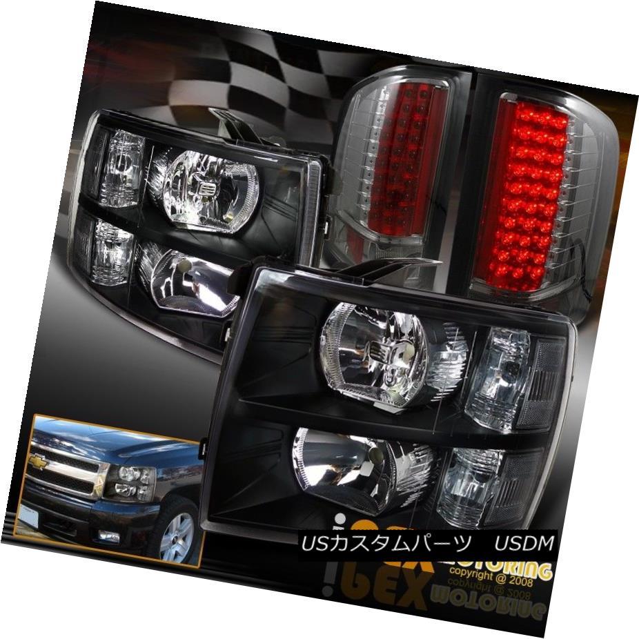 テールライト CHEVY Silverado 1500/2500/3500 Black Headlights + Lightly-Smoked LED Tail Light CHEVY Silverado 1500/2500/3500ブラックヘッドライト+軽く燻ったLEDテールライト