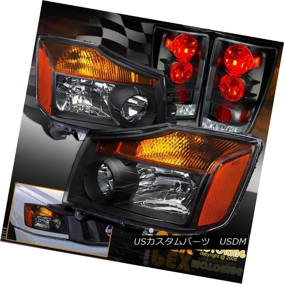テールライト NEW For All 2004-2014 Nissan Titan Black Headlights & Black Tail Lights Combo すべての2004?2014年の日産日産タイタンブラックヘッドライト& ブラックテールライトコンボ