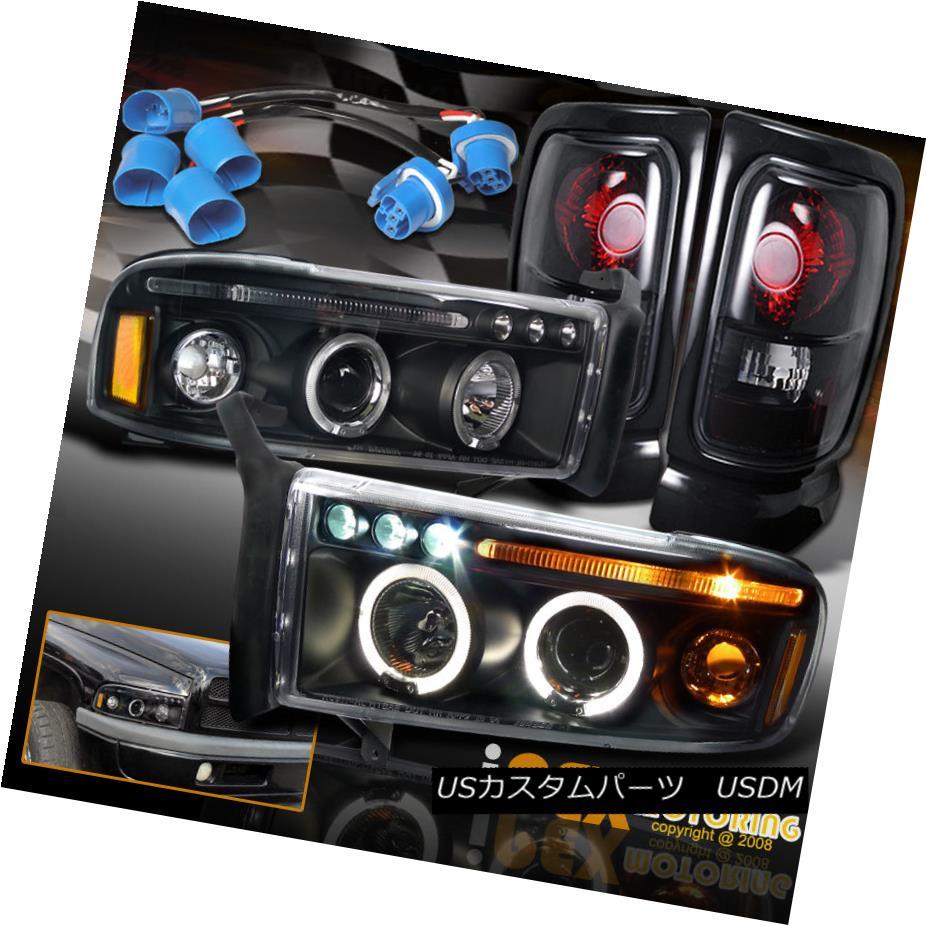 テールライト For 97-01 Dodge Ram 1500 SPORT Halo Projector LED Black Headlights + Tail Lights 97-01 Dodge Ram 1500スポーツヘイロープロジェクター用LEDブラックヘッドライト+テールライト