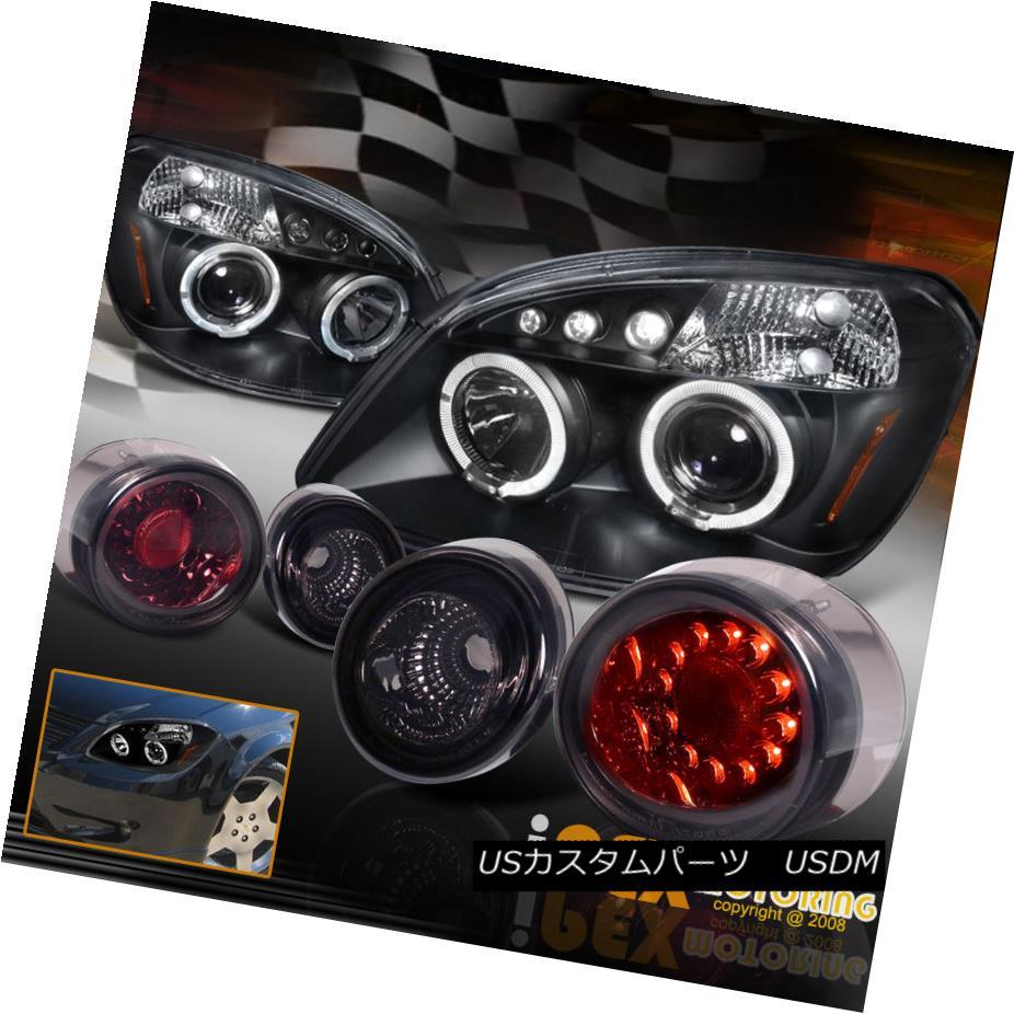 テールライト 2005-2010 Chevy Cobalt Halos Projector Black Headlights + LED Smoke Tail Light 2005-2010シボレーコバルトハローズプロジェクターブラックヘッドライト+ LEDスモークテールライト