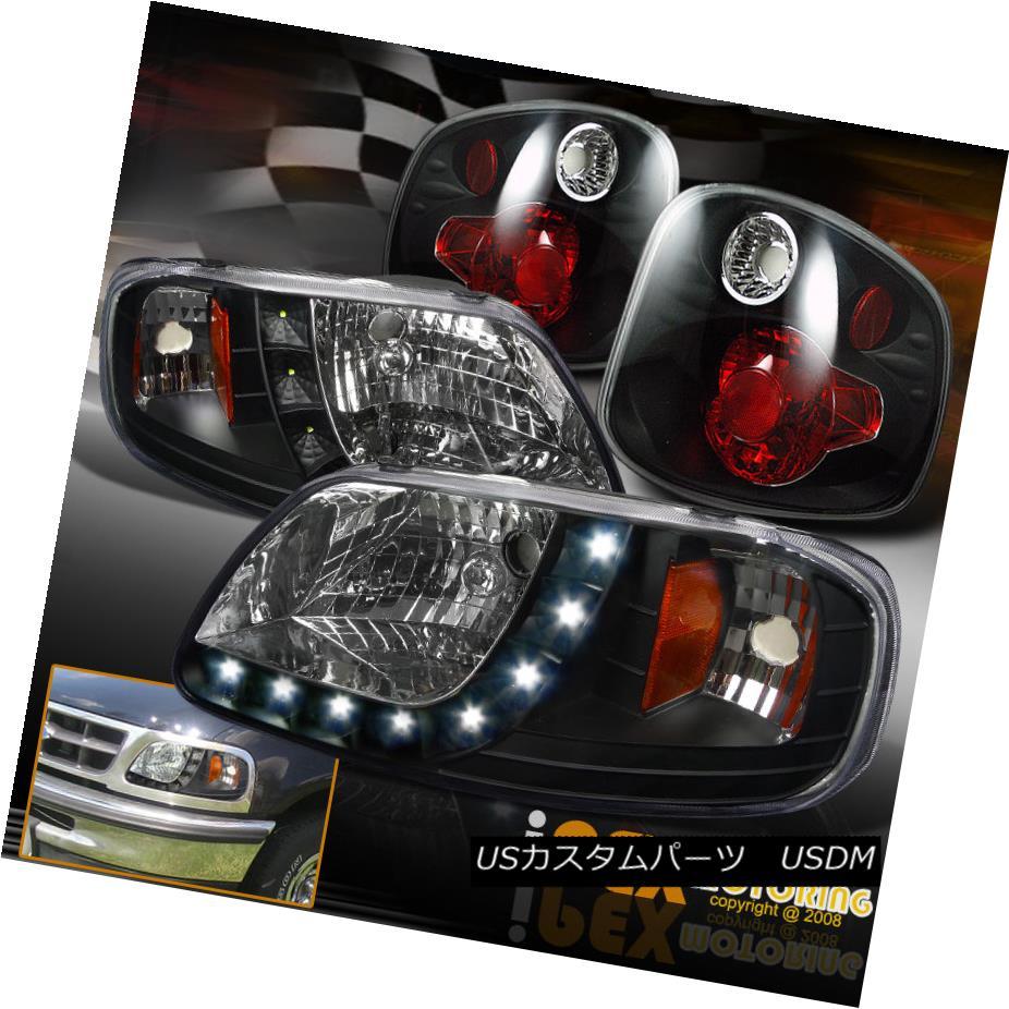 テールライト 2001-2003 Ford F150 King Ranch SVT Lightning LED Headlights Black + Tail Lights 2001-2003フォードF150キングランチSVTライトニングLEDヘッドライトブラック+テールライト