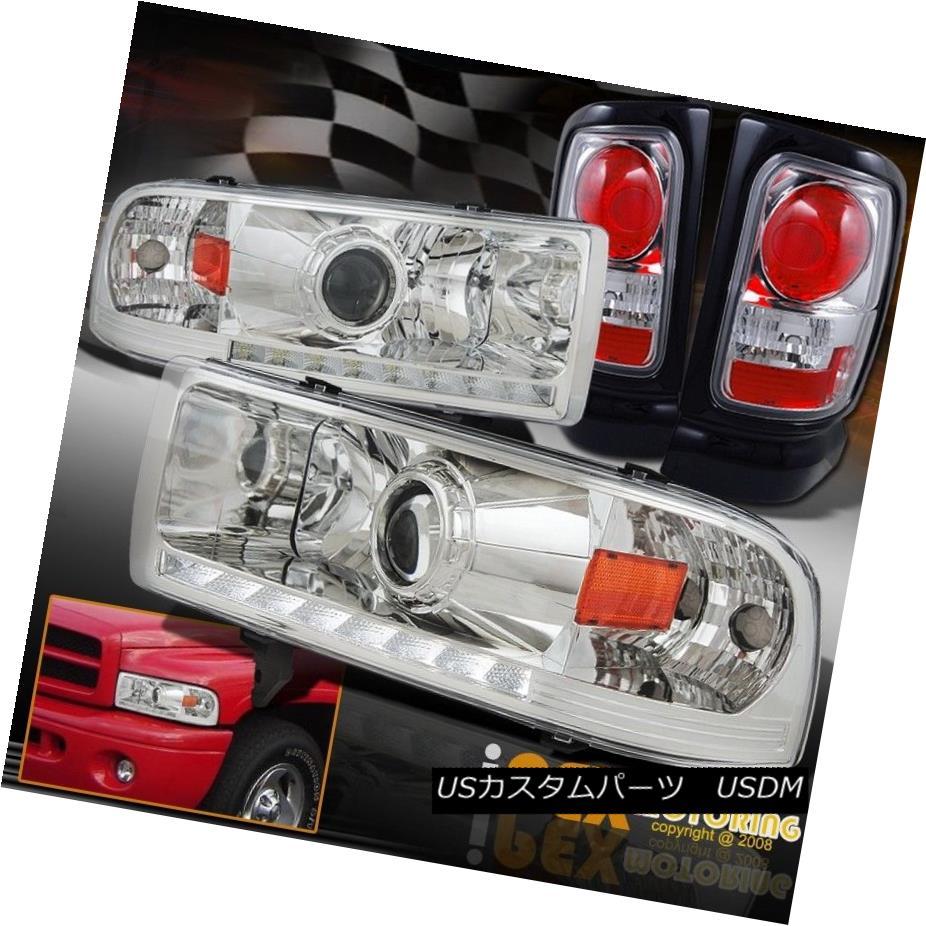 テールライト SHINY Chrome 1994-2001 Dodge Ram 1500 2500 3500 LED DRL Headlights + Tail Lights SHINY Chrome 1994-2001 Dodge Ram 1500 2500 3500 LED DRLヘッドライト+テールライト