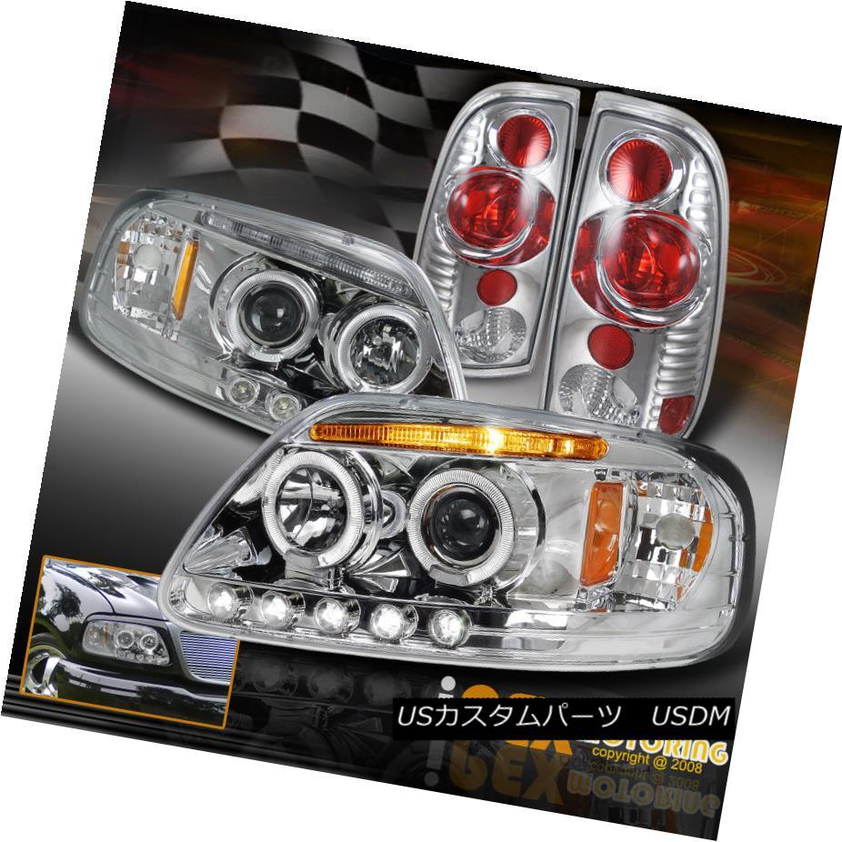 テールライト 1997-2003 Ford F150 F-150 Twin Halo Projector LED Headlight + Tail Lights Chrome 1997-2003フォードF150 F-150ツインハロープロジェクターLEDヘッドライト+テールライトクローム