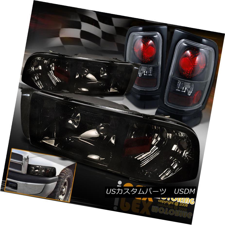 テールライト (SHINY SMOKE) Dodge 94-01 Ram 1500 2500 3500 Headlights With Black Tail Lights (SHINY SMOKE)Dodge 94-01 Ram 1500 2500 3500ヘッドライトとブラックテールライト