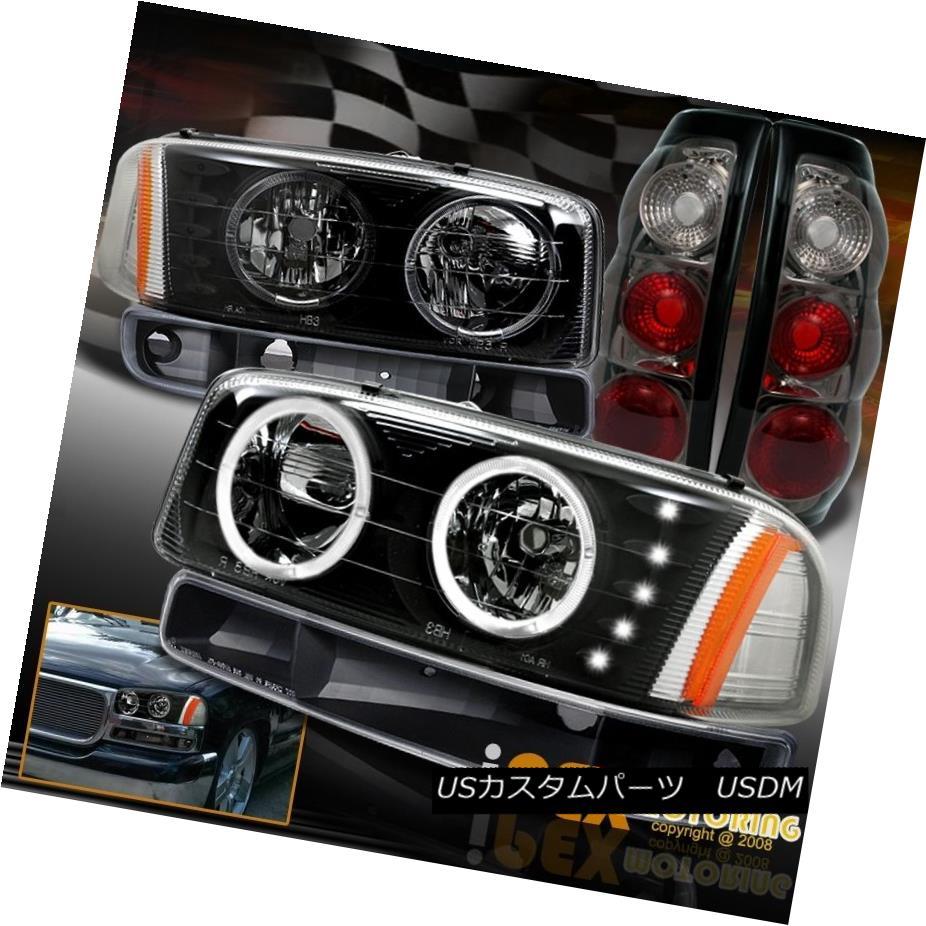 テールライト For GMC Sierra 1500 2500 Halo Black Headlight + Bumper Signal + Smoke Tail Light GMC Sierra 1500 2500用ハローブラックヘッドライト+バンパー信号+煙テールライト