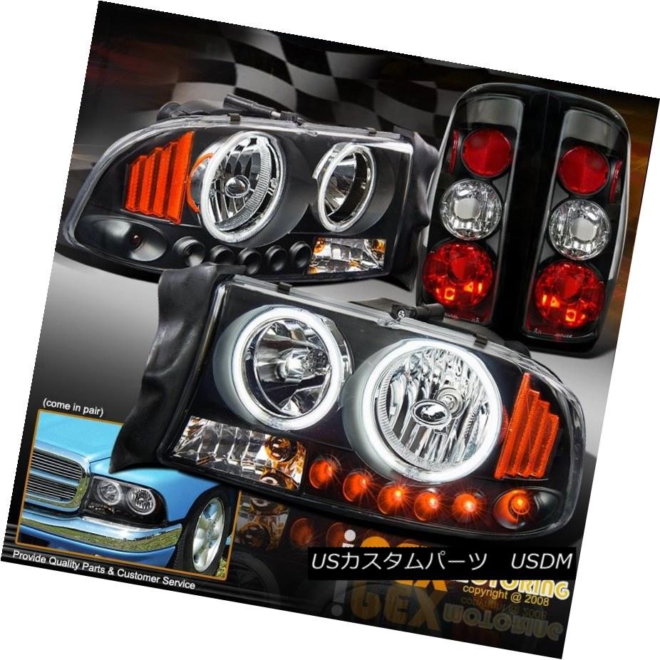 テールライト 1997-2004 Dodge Dakota LED Signals CCFL Halo Black Headlights W/ Tail Lights 1997-2004 Dodge Dakota LED信号CCFL HaloブラックヘッドライトW /テールライト