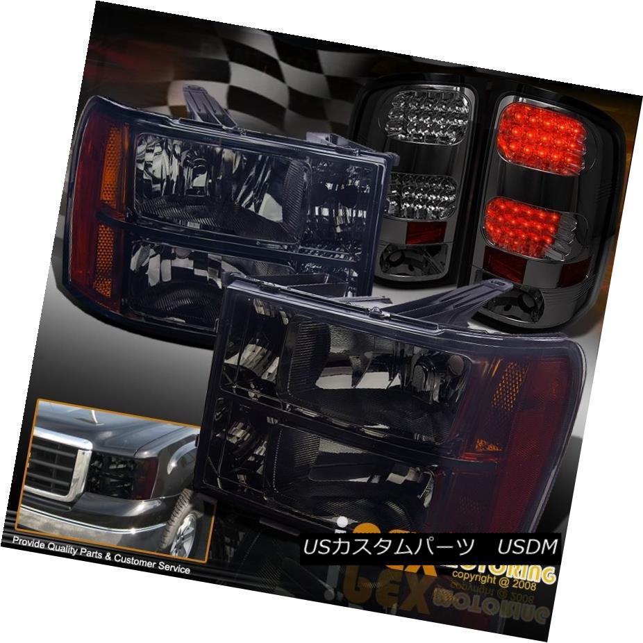 テールライト 2007-2013 GMC Sierra 1500 2500HD Black-Out Headlights + LED Smoke Tail Lights 2007-2013 GMC Sierra 1500 2500HDブラックアウトヘッドライト+ LED煙テールライト