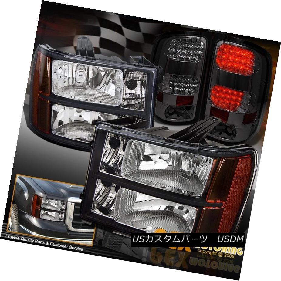 テールライト NEW 2007-2013 GMC Sierra 1500 2500 3500 Black Headlights + LED Smoke Tail Light NEW 2007-2013 GMC Sierra 1500 2500 3500ブラックヘッドライト+ LEDスモークテールライト