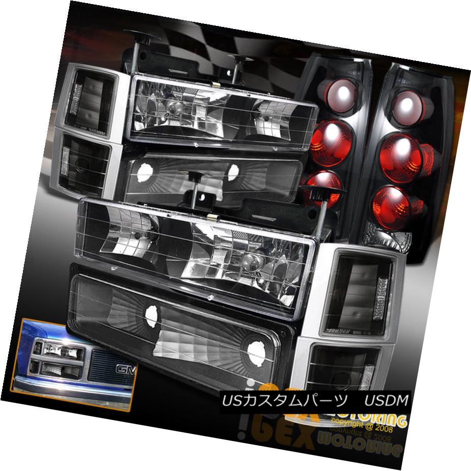 テールライト 94-98 GMC Sierra Yukon Black Headlights + Dark Smoke Tail Lights + Signal Lights 94-98 GMC Sierra Yukonブラックヘッドライト+ダークスモークテールライト+シグナルライト