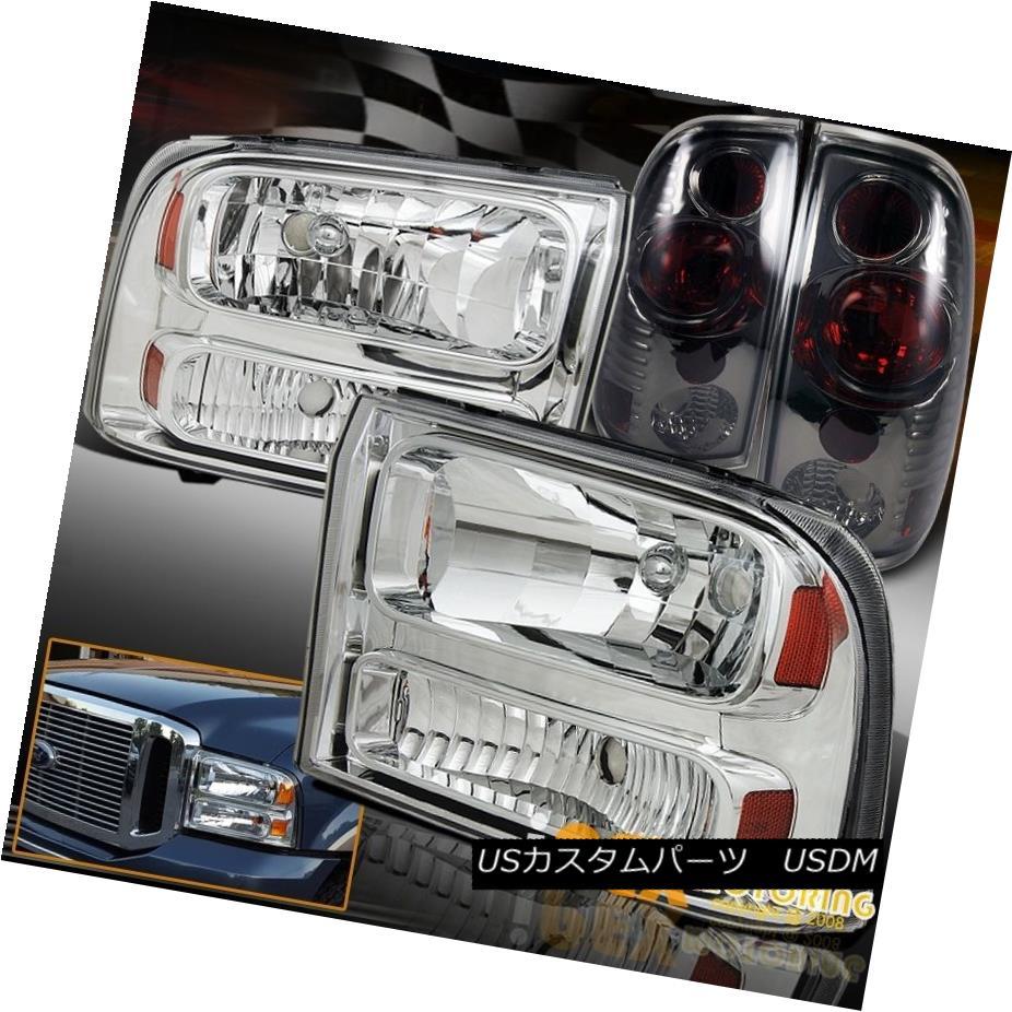 テールライト 1999-2004 Ford F250 F350 Chrome Headlights Facelift To 2005+ W/ Smoke Tail Light 1999-2004フォードF250 F350クロームヘッドライト2005年以降のフェイスリフトW /スモークテールライト