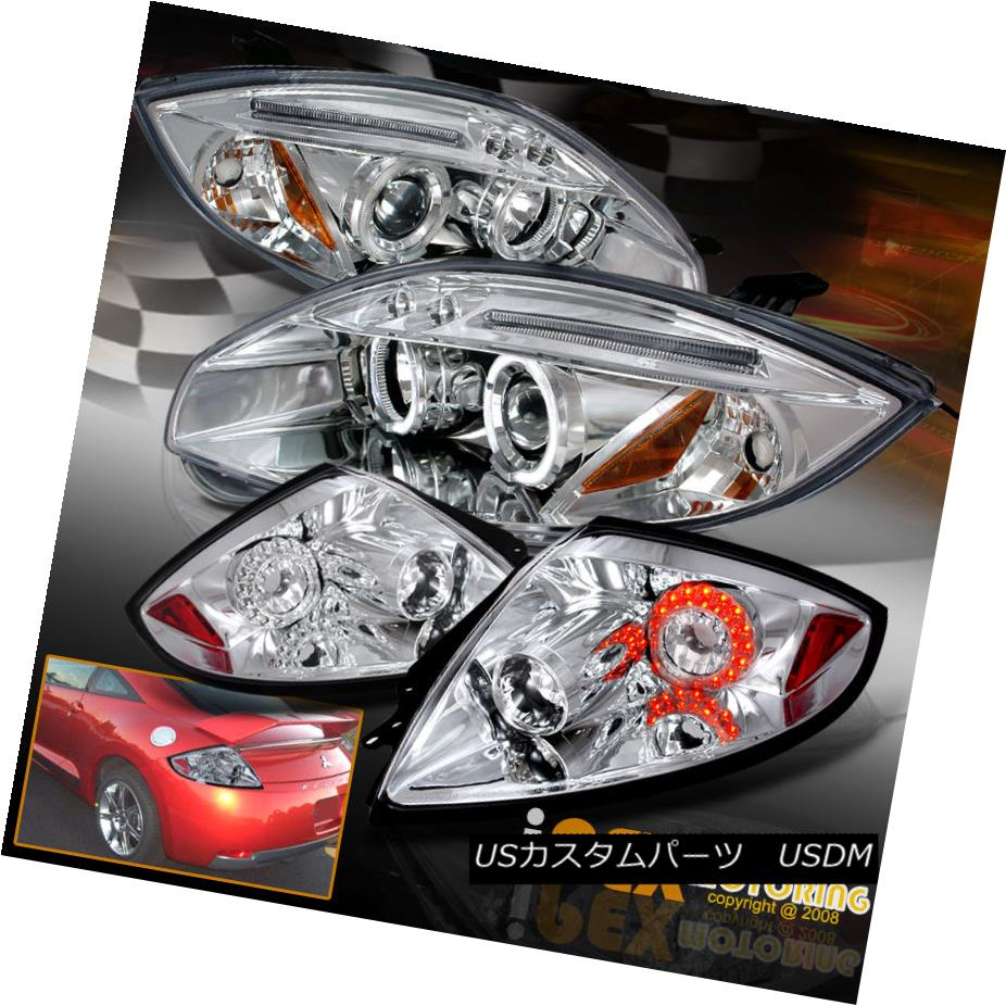 テールライト Brightest Halo 2006-2011 Mitsubishi Eclipse Projector Headlight + LED Tail Light 最も明るいヘイロー2006-2011三菱Eclipseプロジェクターヘッドライト+ LEDテールライト
