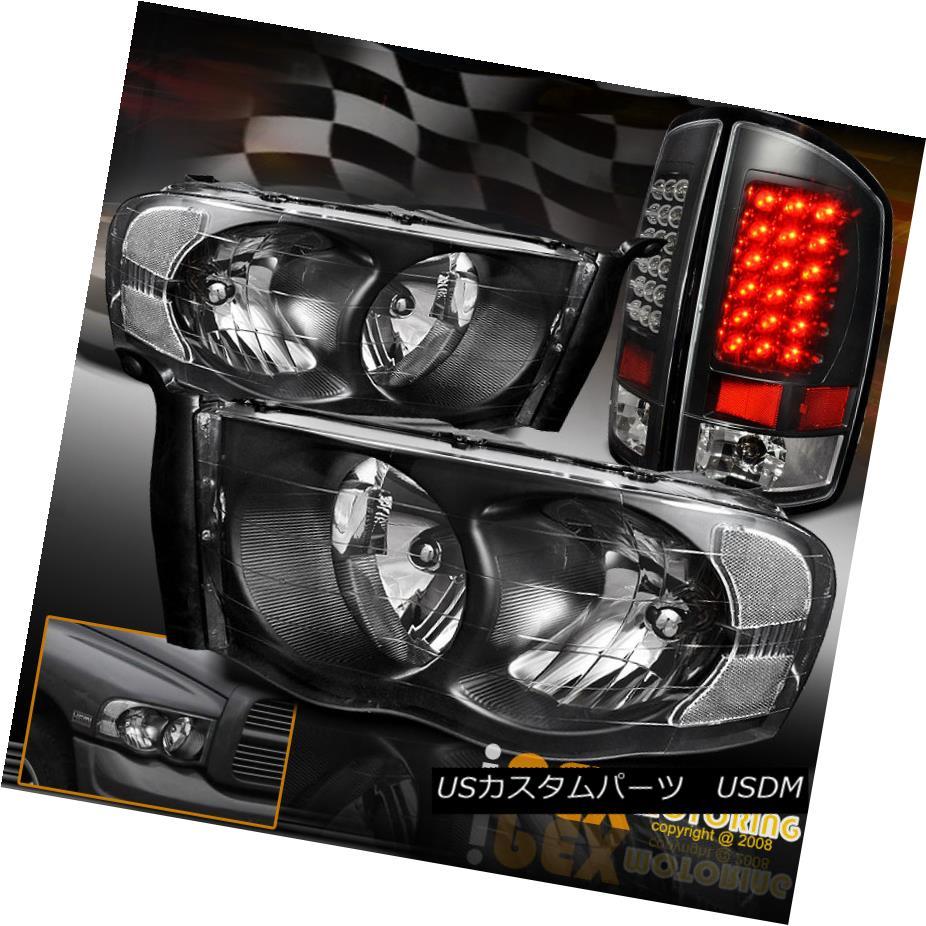 テールライト For 2002-2005 Dodge Ram 1500/2500/3500 Black Headlights + Ultra LED Tail Lights 2002-2005 Dodge Ram 1500/2500/3500ブラックヘッドライト+ウルトラLEDテールライト用