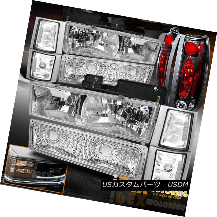 テールライト 1994-1998 GMC Sierra Yukon [Full 10PC] Chrome Headlights Corner Black Tail Light 1994-1998 GMC Sierra Yukon [フル10PC]クロームヘッドライトコーナーブラックテールライト