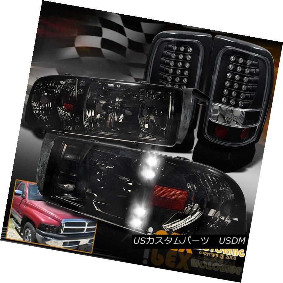 テールライト Shiny Smoke 94-01 Dodge Ram 1500 2500 3500 LED Headlights + LED Black Tail Light 光沢のある煙94-01 Dodge Ram 1500 2500 3500 LEDヘッドライト+ LEDブラックテールライト