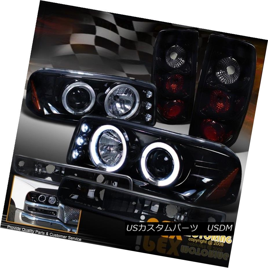 テールライト 2004-2006 GMC Sierra Projector Shiny Black Headlight + Dark Smoke Tail Light SET 2004-2006 GMCシエラプロジェクターシャイニーブラックヘッドライト+ダークスモークテールライトセット