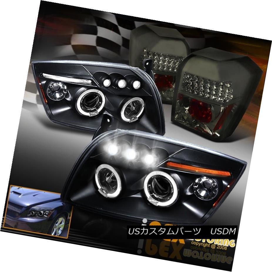 テールライト 2007-2012 Dodge Caliber Black Dual Halo Projector Head Light W/ Smoke Tail Lamps 2007 - 2012年ダッジキャリバーブラックデュアルハロープロジェクターヘッドライトW /スモークテールランプ