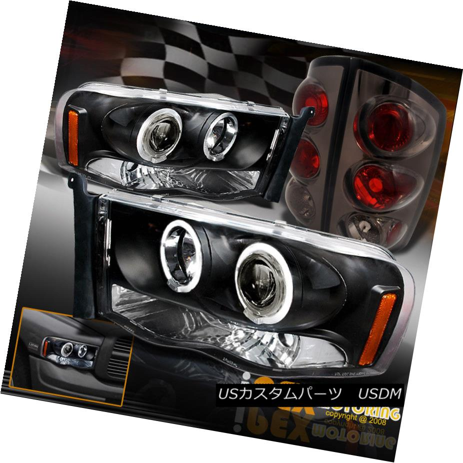 テールライト 2002-2005 Dodge Ram 1500 2500 Halo Projector LED Black Head Light + Smoke Tail 2002-2005 Dodge Ram 1500 2500 HaloプロジェクターLEDブラックヘッドライト+スモークテール