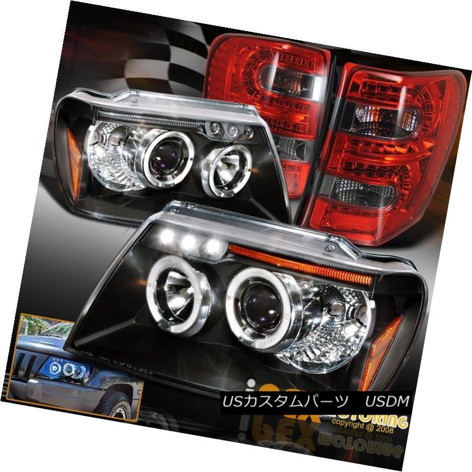 テールライト 99-04 Jeep Grand Cherokee Halo Projector Black Headlight + LED Smoke Tail Lights 99-04ジープグランドチェロキーハロープロジェクターブラックヘッドライト+ LED煙テールライト