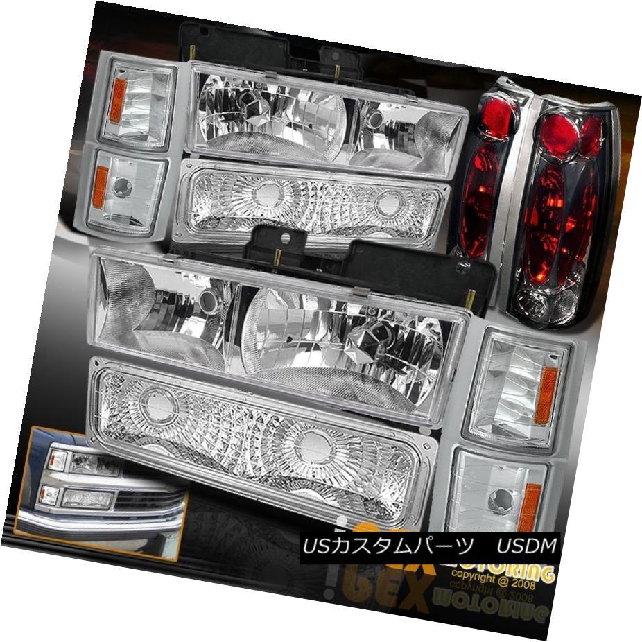 テールライト 94-98 Chevy C/K Truck Chrome Headlights W/ Corner Signal & Smoke Tail Lights 94-98シボレーC / KトラッククロムヘッドライトW /コーナー信号& スモークテールライト