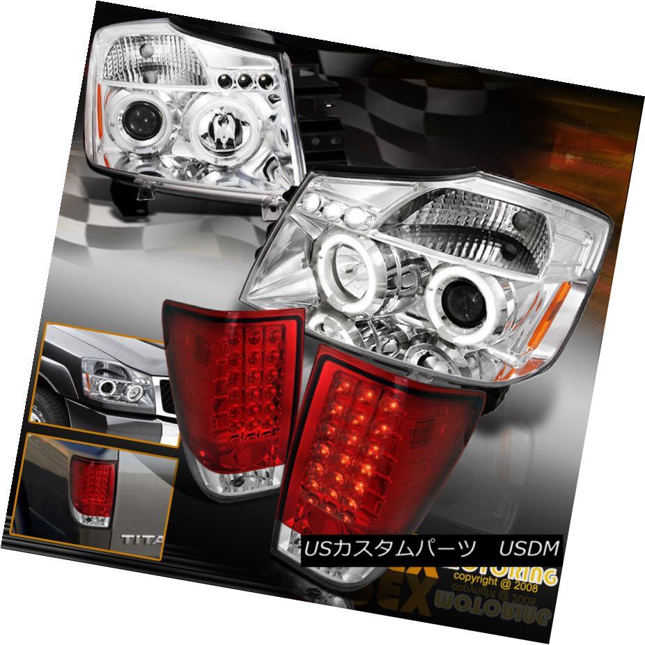 テールライト For 2004-2014 Titan Halo Projector Chrome Headlights + LED Red Tail Lights 2004年?2014年Titan HaloプロジェクターChromeヘッドライト+ LEDレッドテールライト