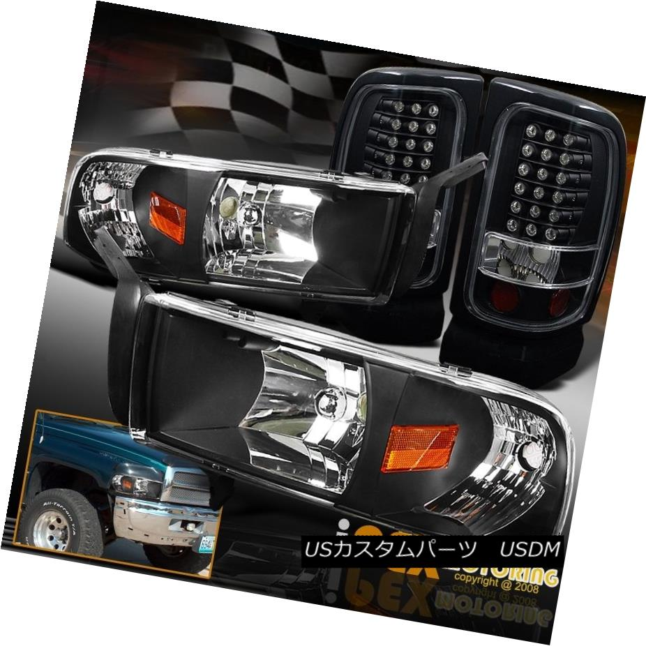 テールライト 1994-2001 Dodge Ram 1500 2500 3500 Black Headlights W/ Signals + LED Tail Lights 1994-2001 Dodge Ram 1500 2500 3500ブラックヘッドライトW /信号+ LEDテールライト