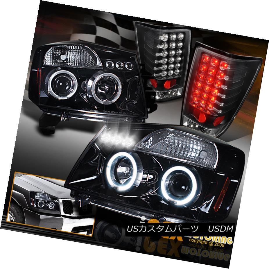 テールライト For 04-14 Nissan Titan Halo Projector Shiny Black Headlight+LED Black Tail Light 04-14日産タイタンヘイロープロジェクターシャイニーブラックヘッドライト+ LEDブラックテールライト