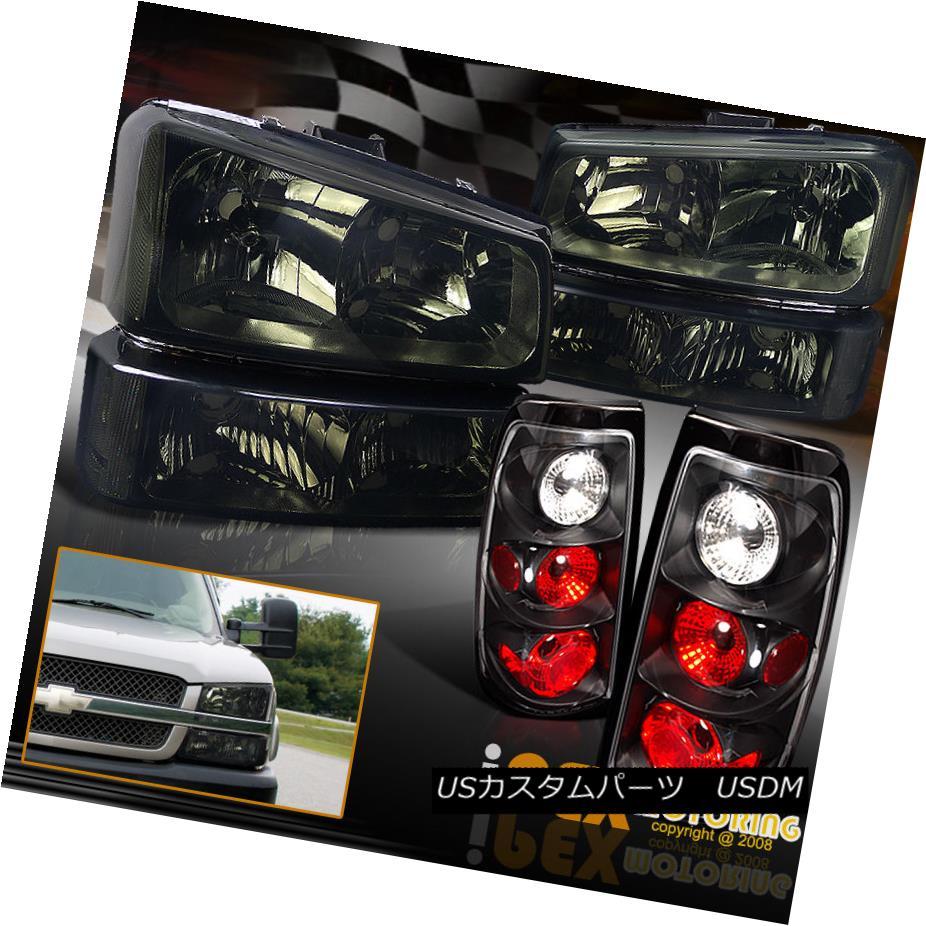 テールライト 2003-2006 Chevy Silverado 1500 2500 Smoke Headlight W/ Signals +Black Tail Light 2003-2006シボレーシルバラード1500 2500スモークヘッドライトW /シグナル+ブラックテールライト